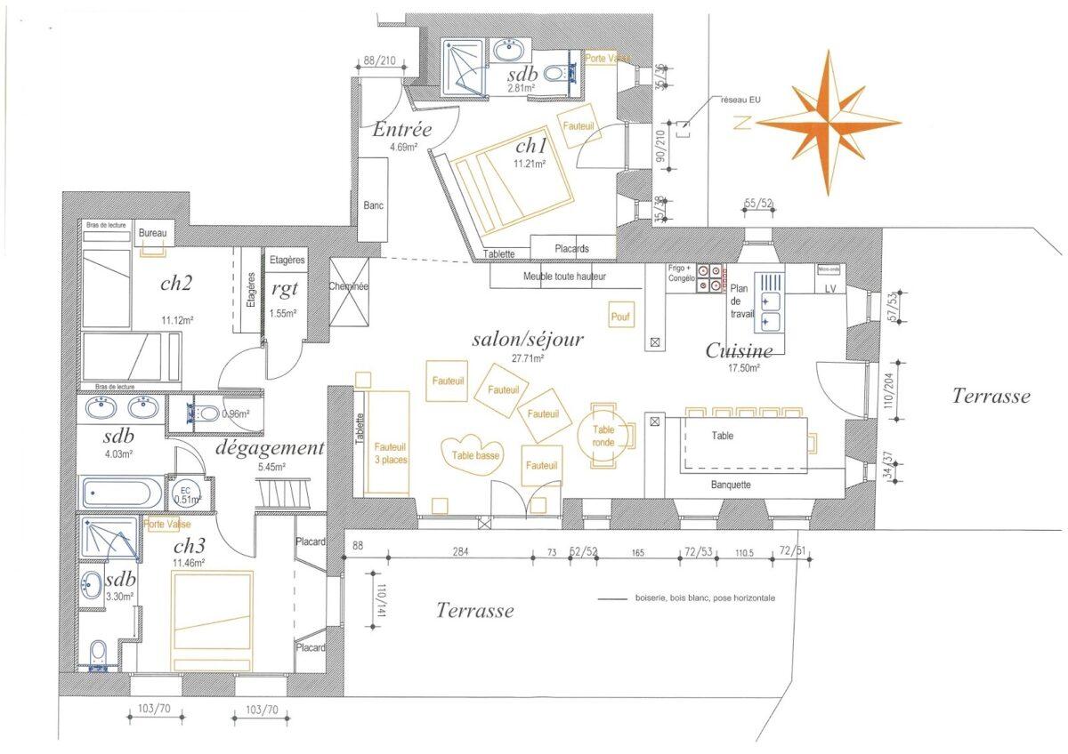 Plan du RDC de l'appartement PC1