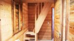 A wooden staircase