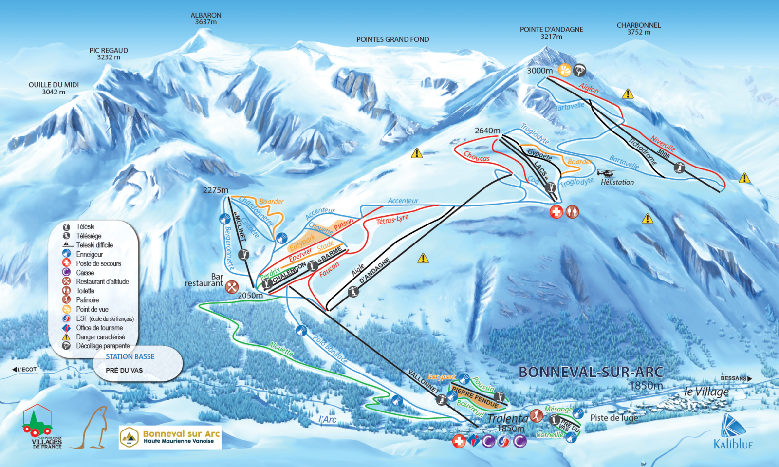 A map of ski lifts and ski slopes