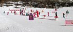 A snow carpet, children