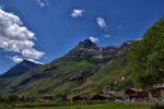 A mountain, chalets