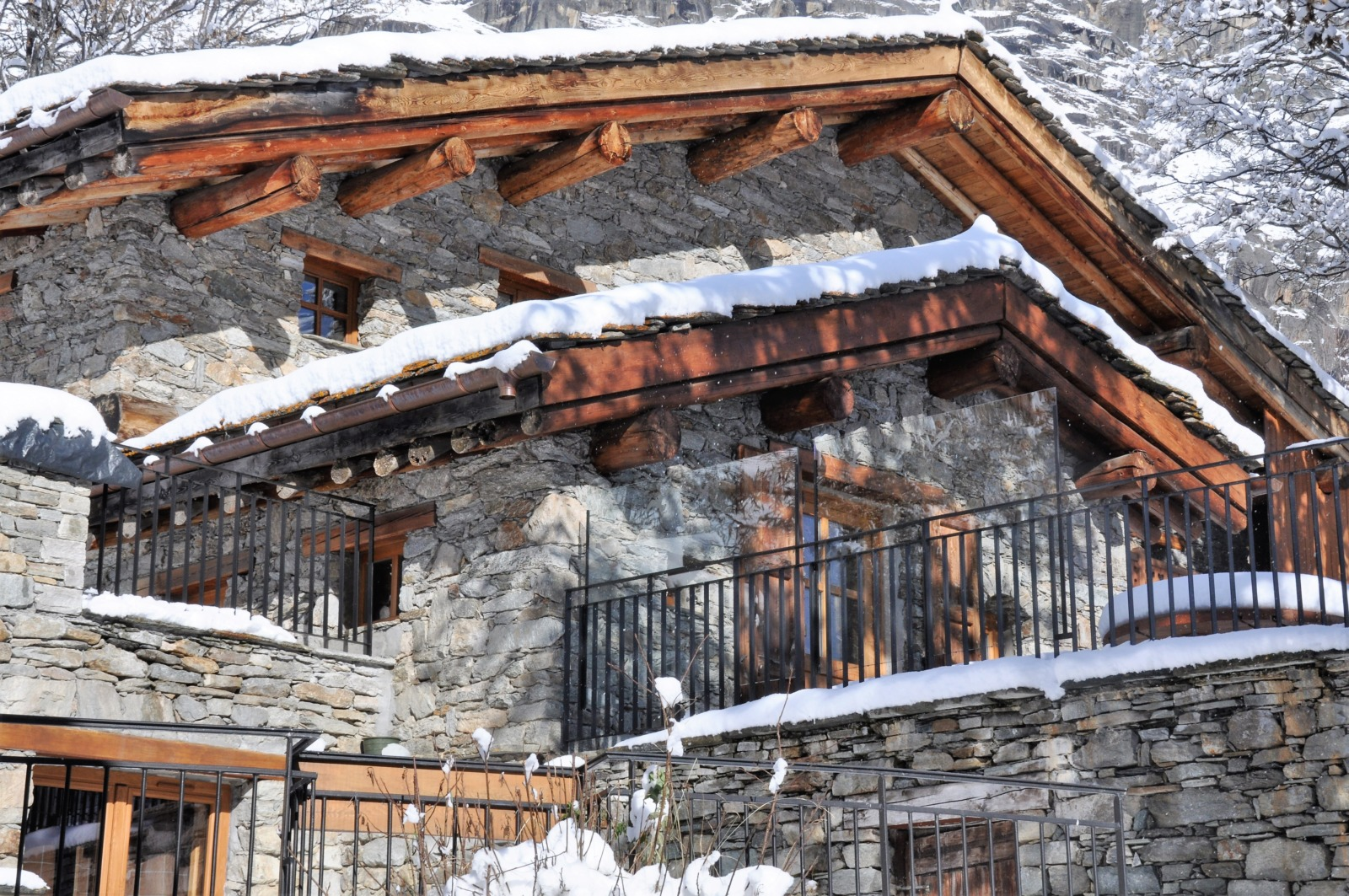 A typical Savoyard chalet under the snow
