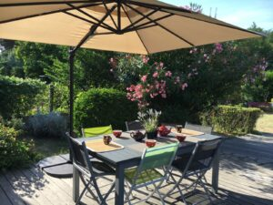 A table in a garden under a sunshade