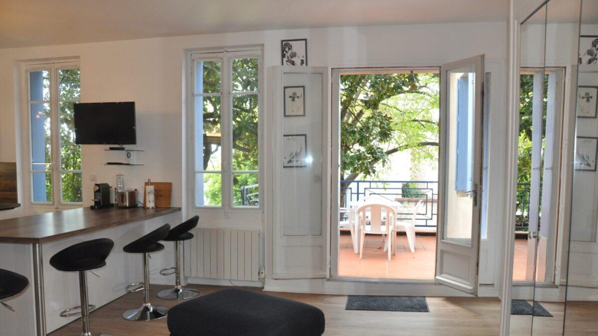 une table, des chaises, un pouf, un téléviseur, des fenêtres, des arbres, un salon de jardin